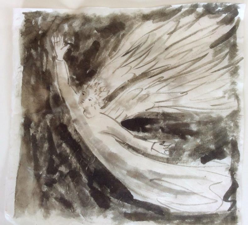Peinture ange aguettant